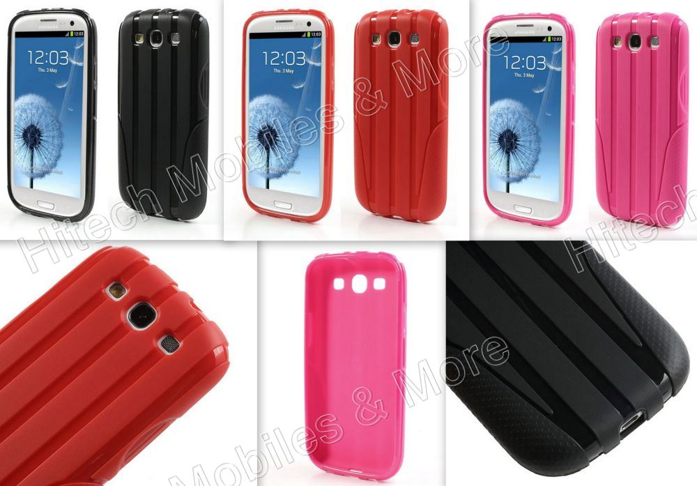 Black Anti-slip TPU Case for Samsung i9300 i9305