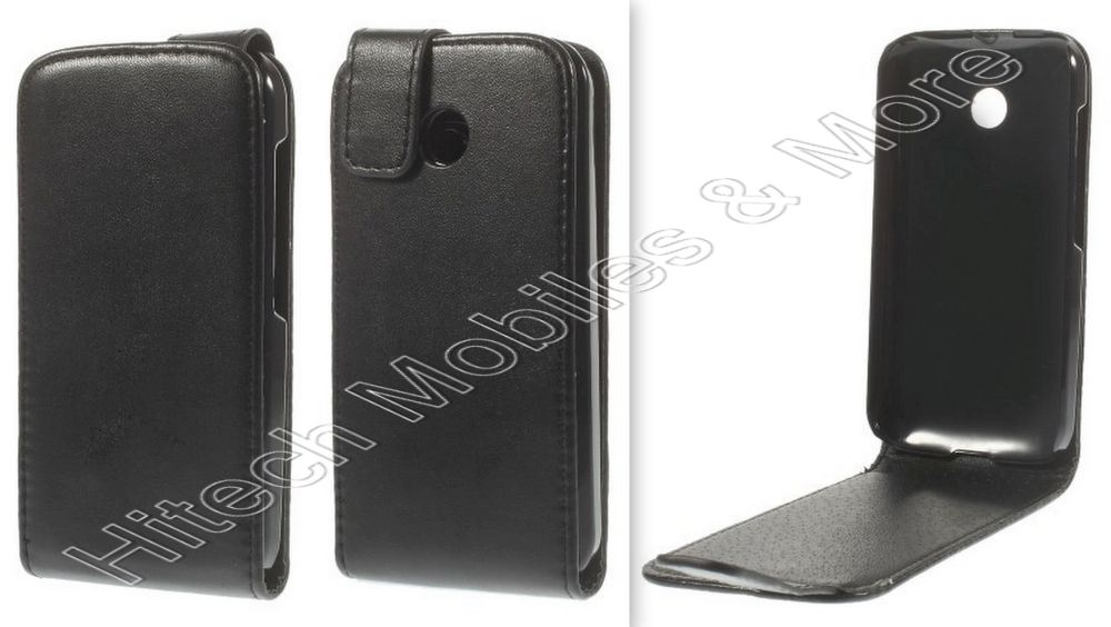 Black Flip Leather Case for Motorola Moto E XT1022
