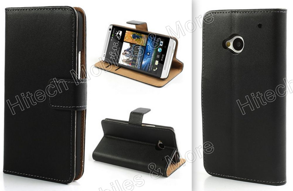 Black Leather Wallet Case for HTC One M7 801e