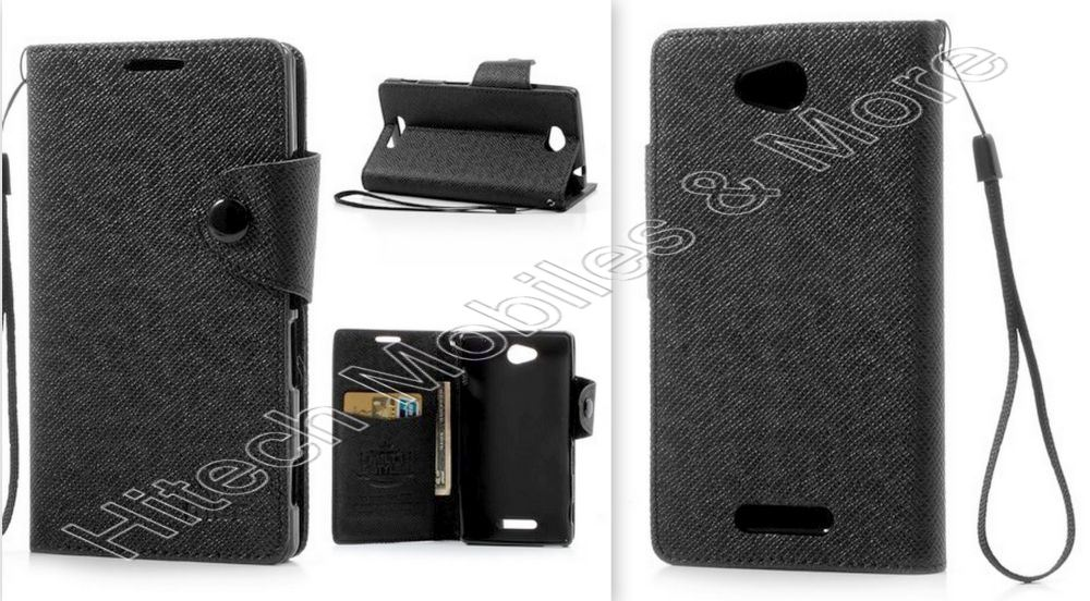 Black Leather Wallet Case for Sony Xperia C C2305