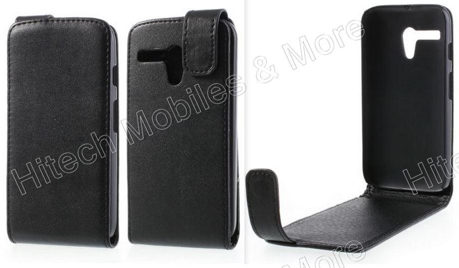 Black PU Flip Leather Case for Motorola Moto G XT1033