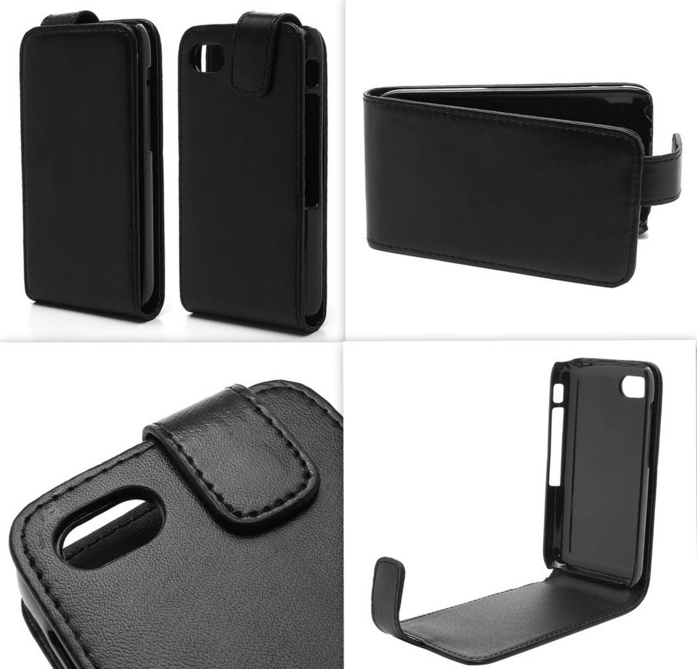 Black PU Leather Flip Cover for BlackBerry Q5