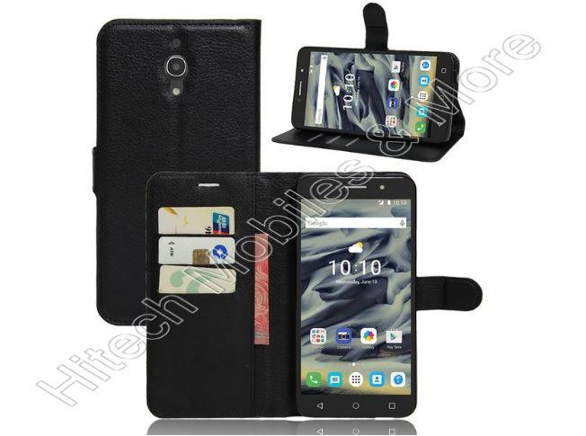Black Pu Leather Wallet Case For Alcatel 9001x Pixi 4