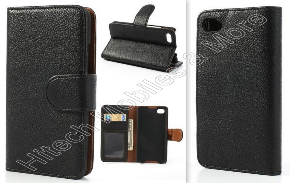 Black PU Leather Wallet Case for BlackBerry Z30