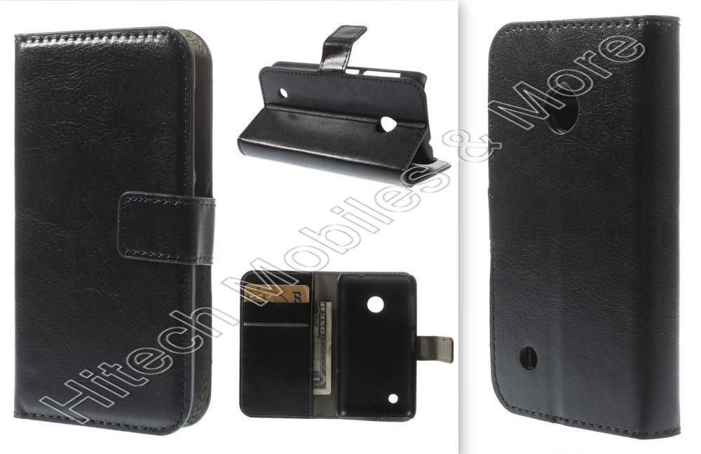 Black PU Leather Wallet Case for Nokia Lumia 530