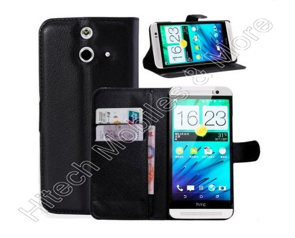 Black PU Wallet Leather Case for HTC One E8 Ace