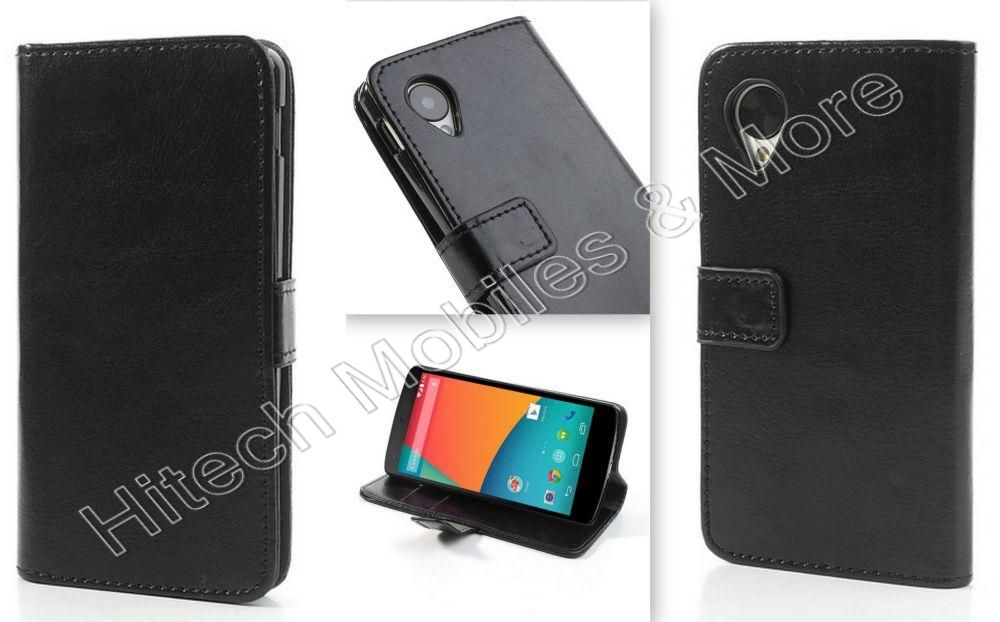 Black PU  Leather Wallet Case for LG Nexus 5