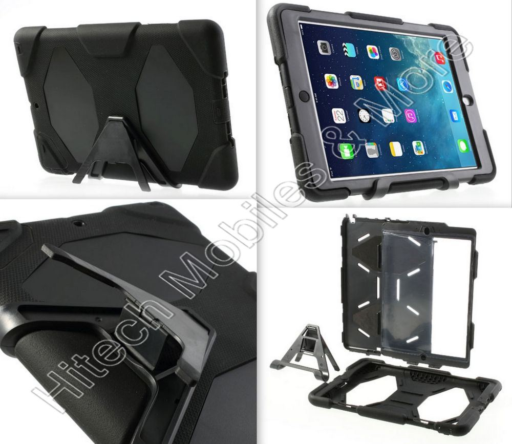 Black Rugged Hybrid Case For Apple iPad Air