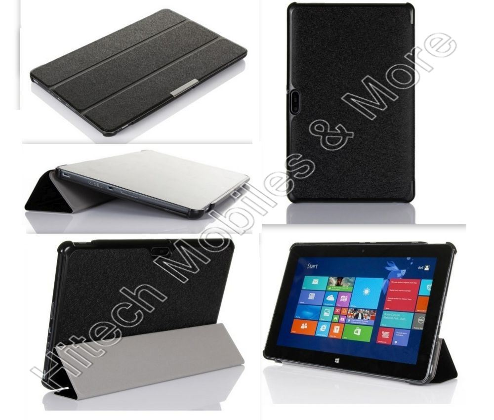Black Tri fold Leather Case for Dell Venue 11 Pro