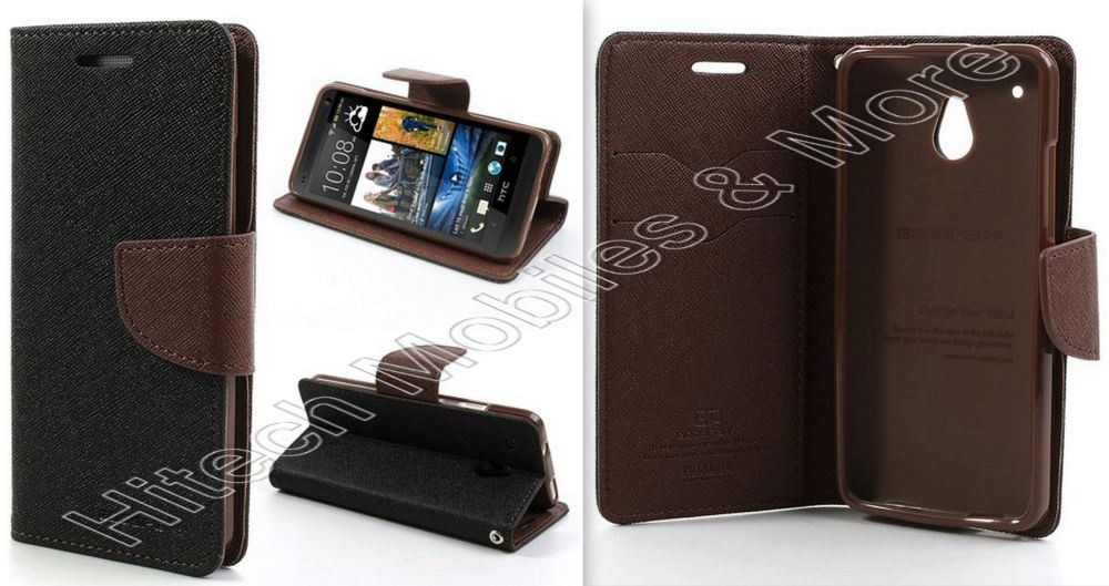 Black Wallet Case For HTC One Mini M4