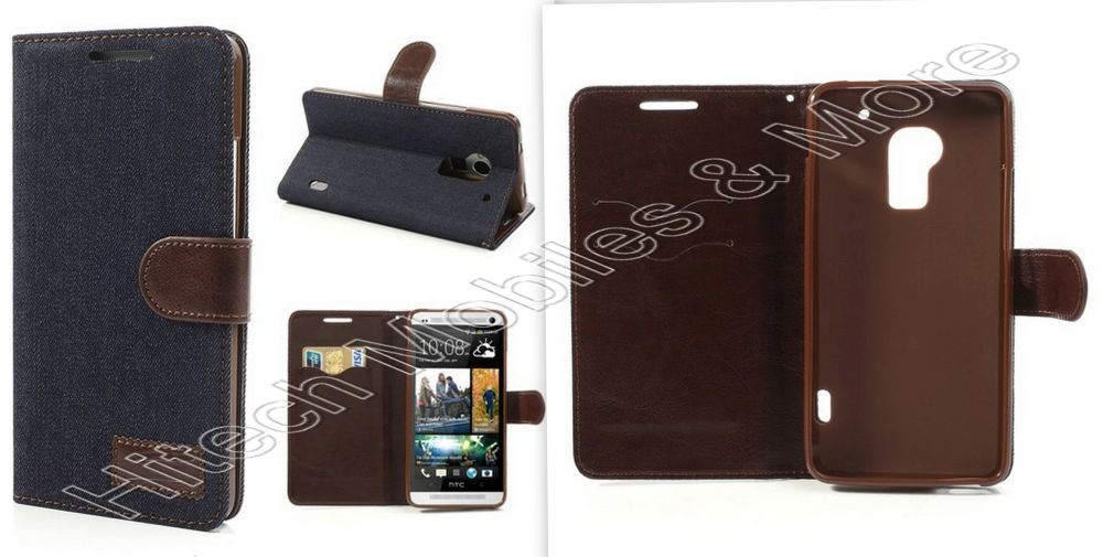 Blue Jeans Wallet Stand Case For HTC One Max