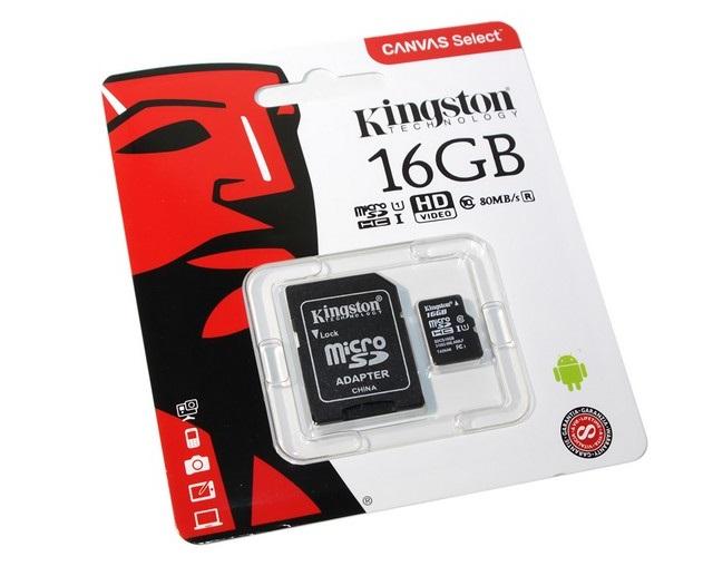KINGSTON 16GB CLASS 10 MICRO SD MEMORY CARD