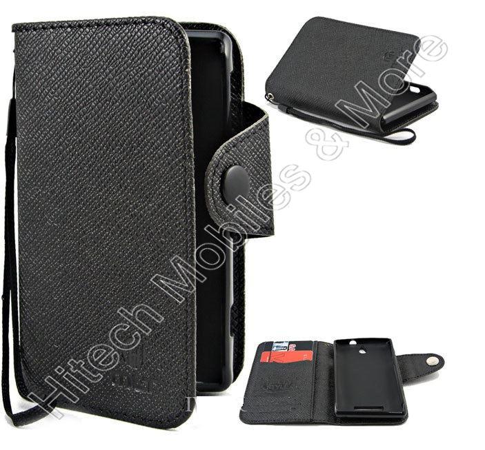 Black Wallet Case For Sony C1505 Xperia E