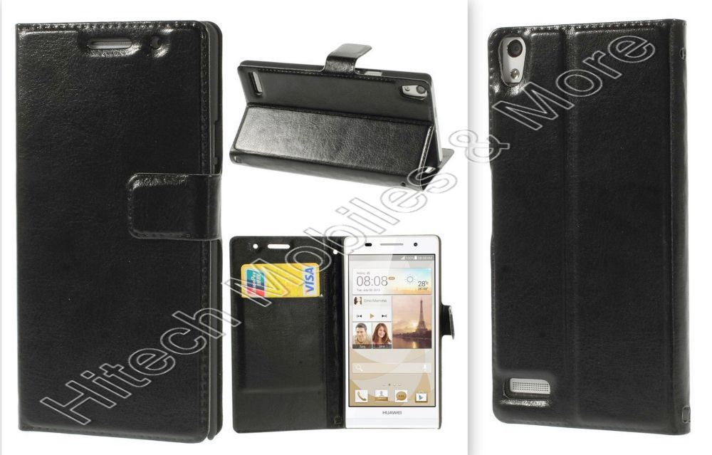 Litchi Texture Wallet Leather Case For Huawei Ascend P6