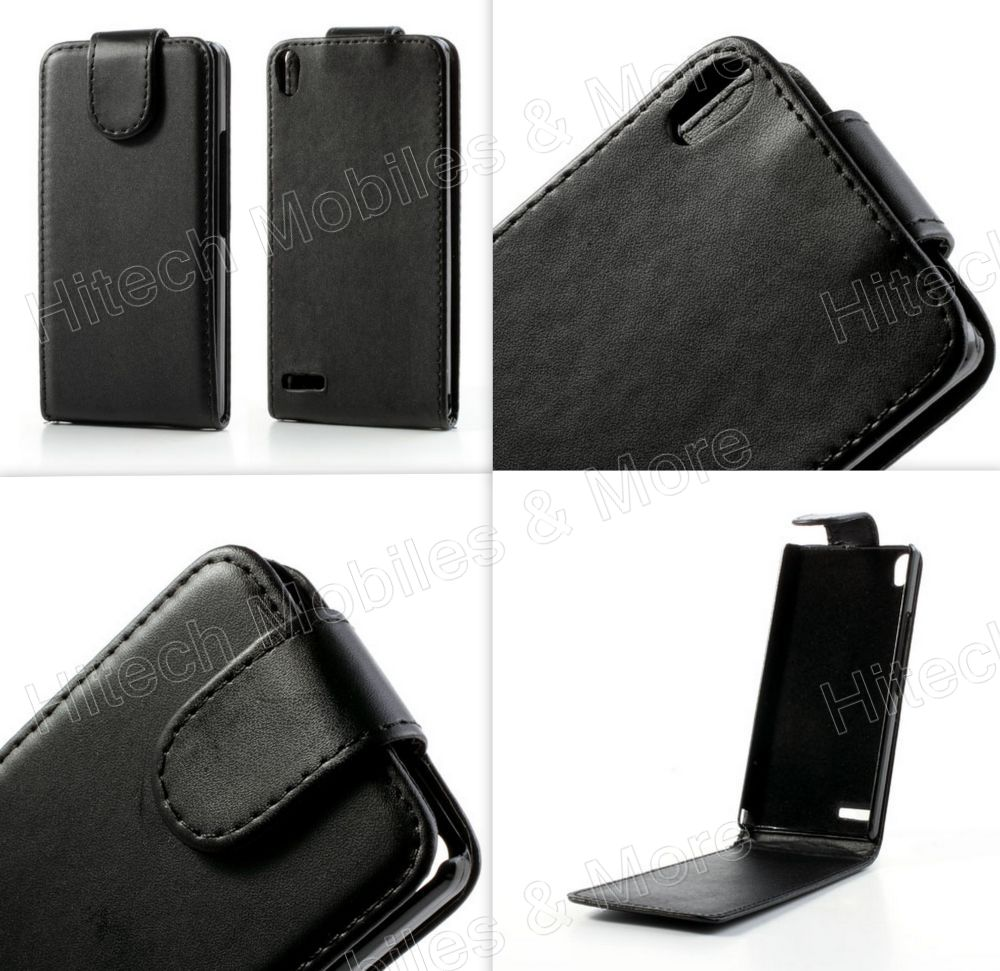 PU Leather Flip Case for Huawei Ascend P6