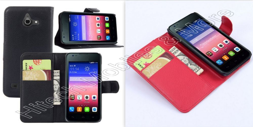 PU Leather Wallet Case for Huawei Ascend Y550