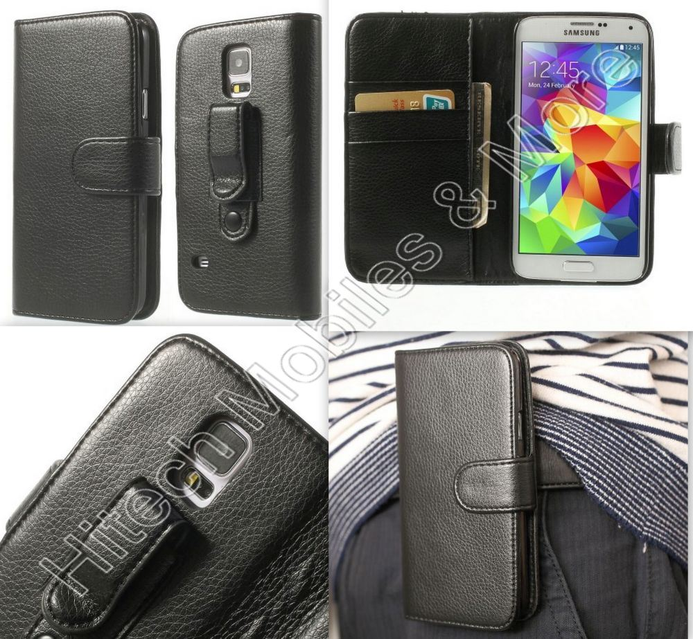 Wallet Leather Belt Clip for Samsung S5 G900